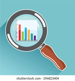 Bar Graph in Magnifying Glass Vector