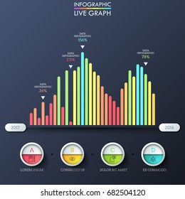Bar graph, multicolored columns placed on horizontal axis with year indication, thin line symbols, percentage. Infographic design template. Vector illustration for statistical report, presentation.