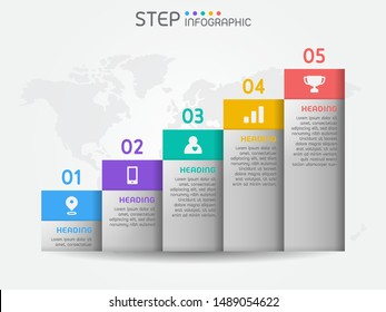 Bar graph shape elements of chart,diagram with steps,options,processes or workflow.Business data visualization. Creative infographic template for presentation,vector illustration.