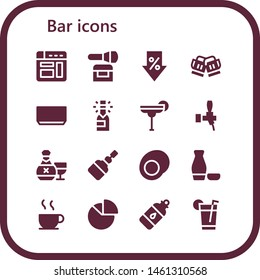 bar icon set. 16 filled bar icons.  Simple modern icons about  - Browser, Powder, Sale, Toast, Soup, Champagne, Cocktail, Beer, Rum, Fermentation, Gummy, Sake, Chocolate, Chart