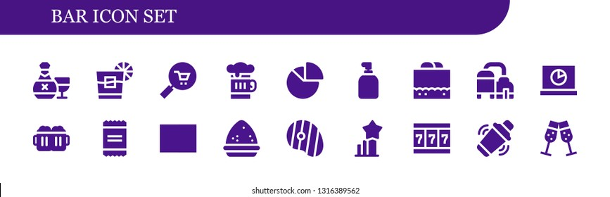 bar icon set. 18 filled bar icons.  Simple modern icons about  - Rum, Whiskey, Commerce, Beer, Chart, Soap, Chocolate fudge, Analytics, Beers, Powder, Barcode, Steak, Stats, Slot machine