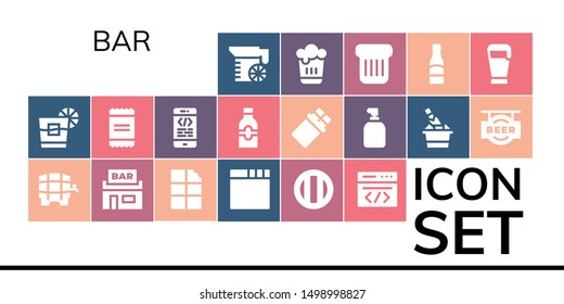 bar icon set. 19 filled bar icons.  Collection Of - Juice, Whiskey, Beer, Pub, Chocolate, Browser, Soda, Coding, Powder, Bottle, Soap, Champagne, Toast