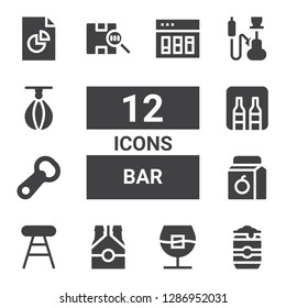 bar icon set. Collection of 12 filled bar icons included Beer can, Whiskey, Beer, Stool, Juice, Bottle opener, Minibar, Barcode, Hookah, Punching ball, Analytics