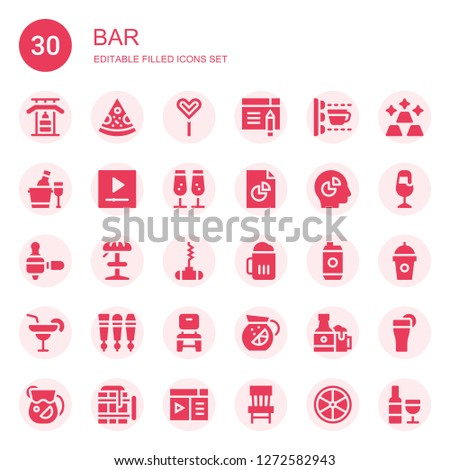 9a5d517c bar icon set. Collection of 30 filled bar icons included Gym bars, Pizza,  Popsicle stick, Browser, Scan, Ice bucket, Youtube, Champagne, Analytics,  Chart, ...