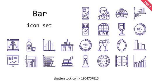 bar icon set. line icon style. bar related icons such as barman, wine glass, bottles, milkshake, cage, bar, vodka, percentage, bar chart, window, cheers, live, statistics, chocolate