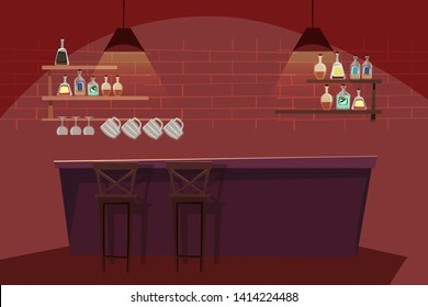 Bar interior flat vector illustration. Empty pub with wooden counter, chairs and equipment. Bartender workplace. Bottles, glasses. Bar stand with alcohol drinks.