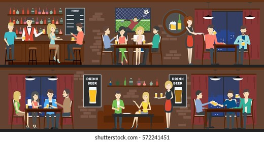 Bar interior set with visitors and bartenders. Fresh beer and football live.