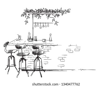 bar interior sketch, bar counter vector drawing, isolated on white