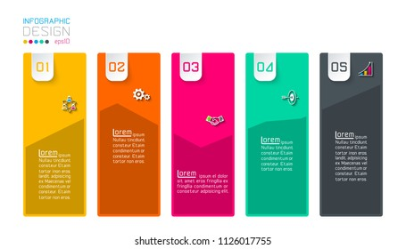 Bar labels infographic with 5 steps.