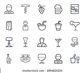 Bar line icon set. Collection of holidays sign for web design and mobile app. International Bartender's Day  pictogram. Barmen, alcohol, glass, wine, cocktail, beer, menu, outline icon