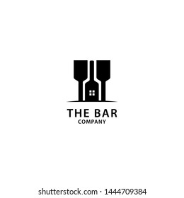 Bar Logo Design, Wine and Drinks Icon