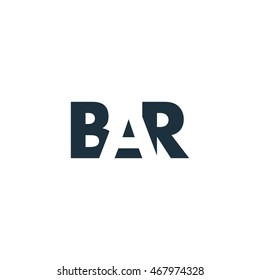 BAR Logo. Vector Graphic Branding Letter Element. White Background