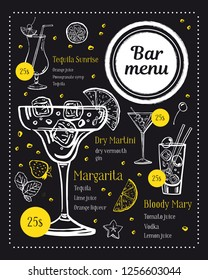 Bar menu design template. Classical cocktails illustrations with ingredients and prices. Vector outline sketch hand drawn illustration on blackboard background