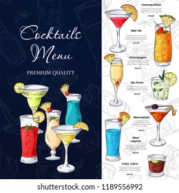 Bar menu design. Template for cocktail drinks. Brochure with hand drawn elements. Vector illustration.