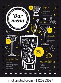 Bar menu design template. Four cocktails illustrations with ingredients and prices. Vector outline sketch hand drawn illustration on blackboard