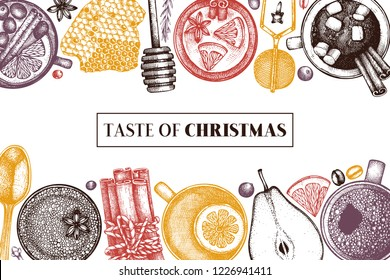 Bar menu design with winter drinks. Hand drawn tea, mulled wine, coffee, hot chocolate ingredients.  Vector beverage illustration with fruits, herbs, spices.  Taste of Christmas. Vintage template