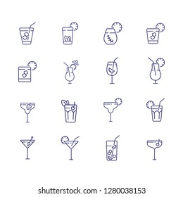 Bar menu line icon set. Mojito, lemonade, daiquiri. Drink concept. Can be used for topics like bar, tropical party, cold beverages