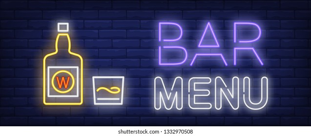 Bar menu neon sign. Wine bottle and glass. Restaurant, bar, pub. Night bright advertisement. Vector illustration in neon style for drinks, service, alcohol