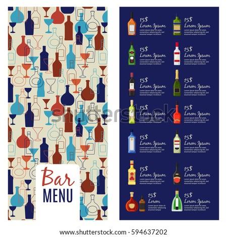 bar menu template alcohol menu booklet stock vector royalty free