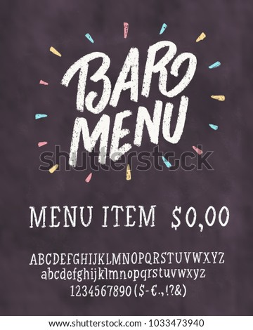 Bar Menu Template Chalkboard Lettering