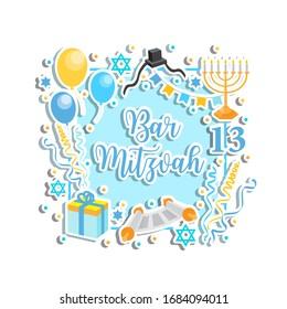 Bar Mitzvah congratulation or invitation card. jewish holiday 13th birthday boy