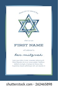 Bar Mitzvah Invitation Card with Blue Background - Vector