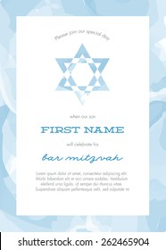 Bar Mitzvah Invitation Card with Blue Watercolor Background - Vector
