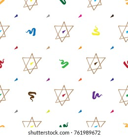 Bar Mitzvah pattern hand drawn with David star