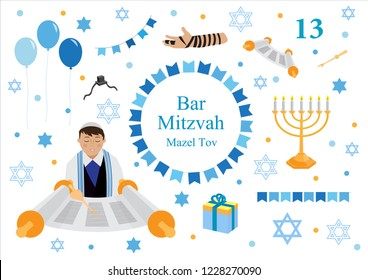 Bar mitzvah set of flat style icons. Collection of elements for congratulation or invitation card, banner, with Jewish boy, menorah, Star of David isolated on white background. vector illustration.