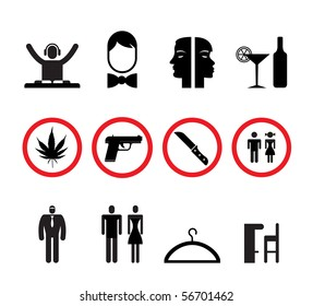 bar and night club icons - vector icon set