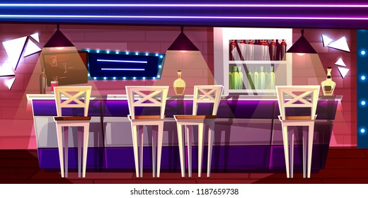 Bar or pub counter vector illustration in night club or hotel interior Cartoon flat design of alcohol drinks bottles on refrigerator self with chair seats and barista menu board.