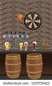 Bar, pub interior with brick walls, chairs,  mug of beer