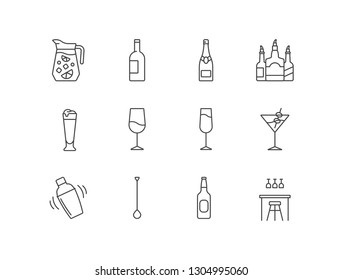 Bar, pub related line icons set with sangria, wine, champagne, beer glass, cocktail, shaker, long spoon, bottle, interior.