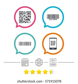 Bar and Qr code icons. Scan barcode in smartphone symbols. Calendar, internet globe and report linear icons. Star vote ranking. Vector
