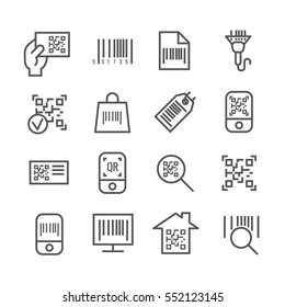 Bar and qr code scanning vector thin line icons. Bar code for scan price information, digital code for identification illustration