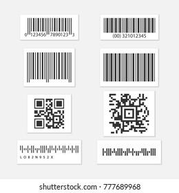 Bar and qr code. Set vector sticker.