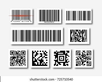 bar and qr code sticker set vector