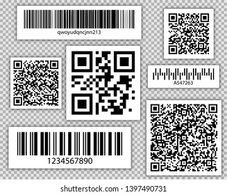 Bar and QR codes Set. Vector Packaging labels. Identification product in shop