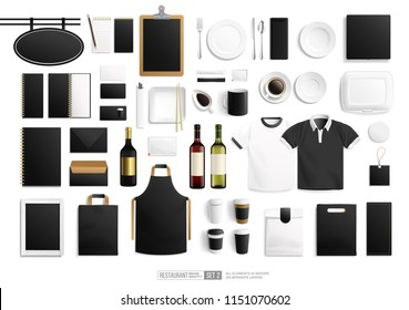 Bar and Restaurant Brand identity Blank Mock-Up set with vector tableware and stationery. Red and white wine realistic vector bottle, restaurant sign, uniform, paper cup. Blank Mockup Bar branding