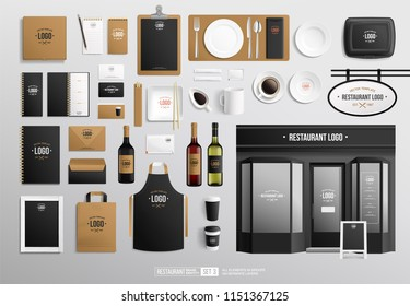 Bar and Restaurant Faсade Brand identity vector Mock-Up set. Red and white wine vector bottle, restaurant sign, tableware and stationery paper cup. Outdoor signage bar and cafe faсade mockup