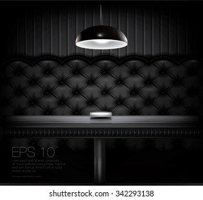 Bar or restaurant seat with a black upholstery leather. High quality vector