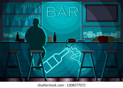Bar with sad lonly man and dog. Alcohol. Blue colors