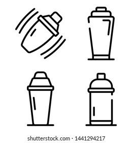 Bar shaker icons set. Outline set of bar shaker vector icons for web design isolated on white background