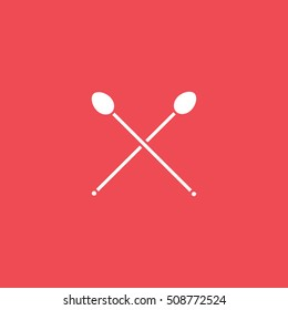 Bar Spoon For Cocktail Flat Icon On Red Background