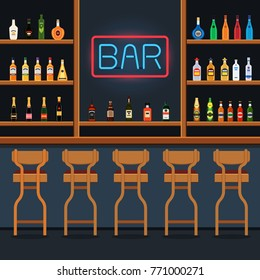 Bar stand with chairs and bottles of alcohol on shelves with neon sign. Vector illustration in flat style
