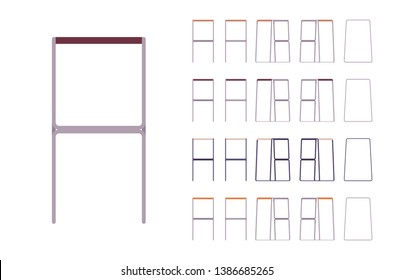 Bar stool set. Home and cafe furniture to seat and relax, metal contemporary design, dining or kitchen kit. Vector flat style cartoon illustration isolated on white background, different views, colors