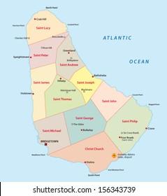 barbados administrative map