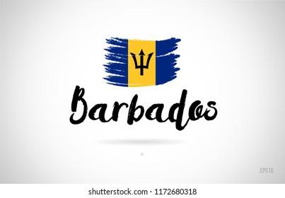 barbados country flag concept with grunge design suitable for a logo icon design