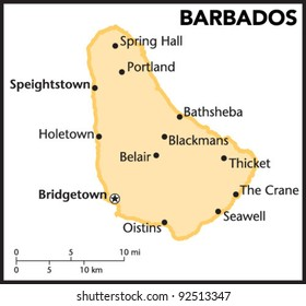 Barbados Country Map