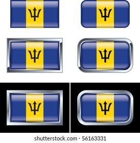 Barbados Flag Buttons